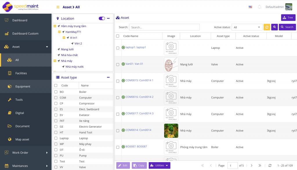 Giao diện phần mềm quản lý bảo trì SpeedMaint trên nền tảng máy tính