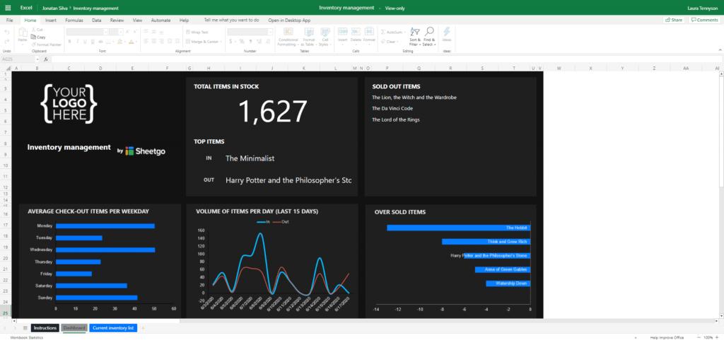 Mẫu quản lý kho vật tư bằng Excel