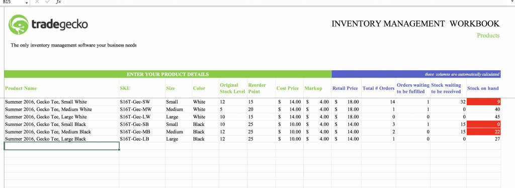 Mẫu Excel kiểm kê kho hàng